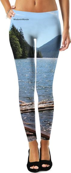 Lake Leggings. Cool off with these leggings. A photograph of Lake Cushman, Washington from one of our favorite spots! Soft and comfy material.