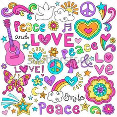 Peace Love and Music Flower Power Groovy Psychedelic Notebook Doodles Set with Butterfly, Flowers, Peace Sign, Acoustic Guitar, and More