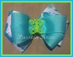 Turquoise and Green Butterfly Bow $4