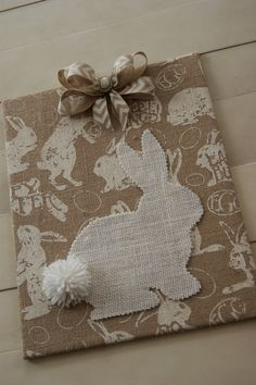 The Life of a Craft Crazed Mom: Burlap Easter Bunny Canvas - featured on Party On The Porch: Spring - Easter Projects & Recipes Burlap Projects, Burlap Crafts, Crafty Projects, Bunny Crafts, Easter Crafts, Easter Decor, Hoppy Easter, Easter Bunny, Spring Crafts