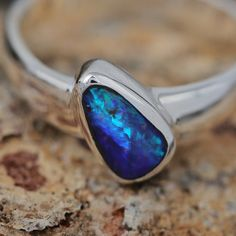 Tapered Minimalist Boulder Opal Ring in by AndersonBeattie on Etsy