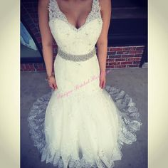Simple Mermaid Wedding Dress 2016 Plus Size Wedding Dresses With Plunging Neckline And Crystals Sash Model Pictures Sequins Beaded Tulle Lace Mermaid Bridal Gowns Strapless Lace Mermaid Wedding Dress From Nicedressonline, $160.21| Dhgate.Com