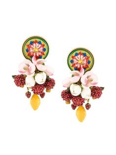 Shop Dolce & Gabbana decorative clip-on earrings.