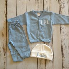 Monogrammed Baby Boy Coming Home Outfit Beanie by TrendyBiscuit