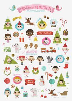Christmas at the North Pole (Stickers) by Federico Bonifacini, via Behance