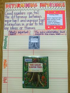 Anchor Chart - Determining Importance - Comprehension Strategies - Think Aloud - The Great Kapok Tree - Lynne Cherry - I used this think aloud in a second grade classroom.