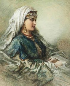 """Arabian Beauty"" -- by Egron Sillif Lundgren (Swedish, Vintage Gypsy, Vintage Art, Spanish Gypsy, Gypsy Girls, Gypsy Women, Arabian Women, Turkish Art, Historical Art, Arabian Nights"