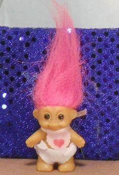 "Russ 2"" baby w/heart on pink bib TROLL DOLL: diaper 
