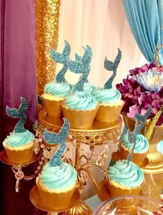 The cupcakes at this Under the Sea Baby Shower are stunning!! See more party ideas and share yours at CatchMYParty.com #cupcakes #mermaid