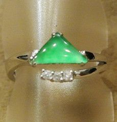 Jade Ring Green Jadeite Triangle Shape