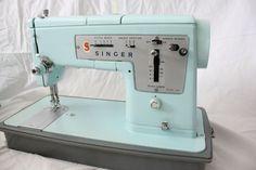 ice blue vintage singer sewing machine