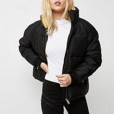 Black high neck puffer jacket