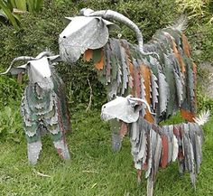 Recycled Garden Art Ideas Rustic recycled garden art ideas garden art rust and gardens goatvet likes these corrugated iron art goats made in new zealand as garden art workwithnaturefo