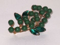 Green Lucite and Glass BroochPin B13 by delightfullyvintage, $18.00
