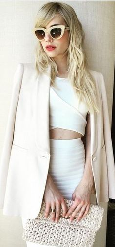 adf5a052229 Emma Roberts  Sunglasses – Quay Shirt and skirt -Jonathan Simkhai Jacket –  Max Mara