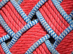 Red White & Blue Rope Rug Doormat 32 x 14 Oval by AlaskaRugCompany, $85.00