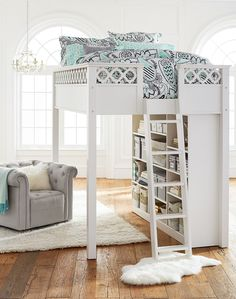 Create your own space for sleep and study. A lofted bed provides lots of space without sacrificing style.