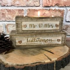 Mr & Mrs Personalised tealight holder wedding gift present rustic wedding gift mr and mrs gift mr and mrs candle holder mr and mrs tealight