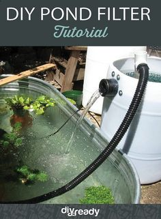 Filter your pond with this DIY Pond Filter by DIR Ready at https://diyprojects.com/diy-pond-filter-tutorial