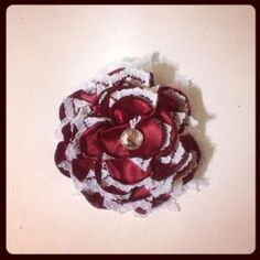Maroon and White Flower hair clip 201 - $3