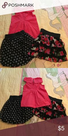 Children's Place skirts with bonus Gymboree top. Lightly worn. Perfect condition! Size 5-6. The Children's Place Bottoms Skirts