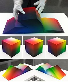 "American artist Tauba Auerbach created the RGB color cube as an 8x8x8-inch hardback book. She calls it the ""RGB Colorspace Atlas"""