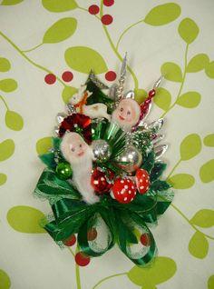 Christmas Corsage Vintage Elves Reindeer Bottlebrush