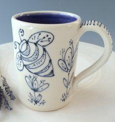 Handmade Porcelain White Stoneware Coffee or Tea Mug from the BEE HAPPY SERIES, dark purple color inside