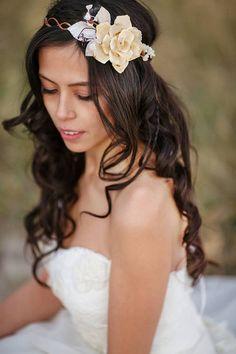 Autumn headband, fall wedding, ivory bridal head piece, pine cone rose head piece, rustic wedding Wedding hair