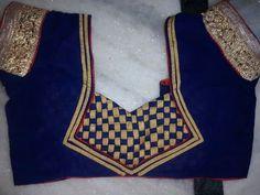 Royal Blue blouse with golden checker patch work Blouse Neck Models, Saree Blouse Neck Designs, Bridal Blouse Designs, Patch Work Blouse Designs, Simple Blouse Designs, Stylish Blouse Design, Chudidhar Neck Designs, Dress Neck Designs, Designer Blouse Patterns
