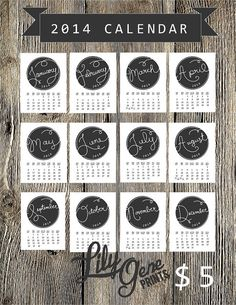 PRINTABLE :: Handwritten 2014 Calendar