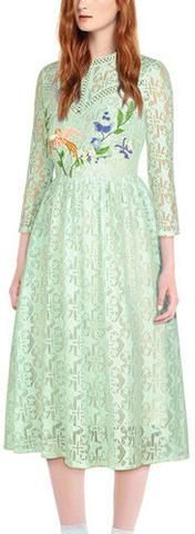 Embroidered Lace Midi Dress, Mint Green