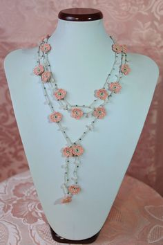 Hey, I found this really awesome Etsy listing at https://www.etsy.com/listing/398928643/crocheted-necklace-pearl-grey-with-pink