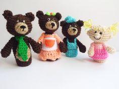 Ricitos de oro y los tres osos títeres ganchillo muñecos