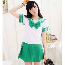 Students Japan School Uniform Dress+Top Bow Tie Anime Cosplay Sailor Girl Lolit