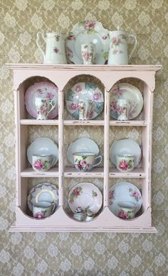 tea cups and saucers wall display shelves Plate Shelves, Display Shelves, Display Ideas, Shelf, Vintage China, Vintage Tea, Shabby Chic Furniture, Shabby Chic Decor, Tea Cup Display
