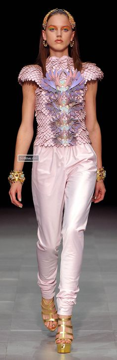Manish Arora Spring Summer 2013 CAN I GET AN 'AMEN' WITH THE FEMININE ARMOUR AND A SET OF LAURELS TO MATCH?