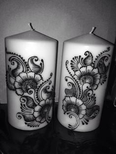 by jewell Natural Candles, Best Candles, Henna Pen, Henna Candles, Henna Mandala, Candle Art, Beautiful Mehndi Design, Diy Candle Holders, Henna Patterns