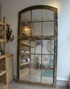 65 ideas for wall mirror diy frame old windows Recycled Decor, Decor, Home, Mirror Frame Diy, Old Windows, Furniture, Mirror Wall, Mirror Repurpose, Window Mirror