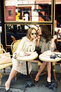 Sister brunch date at a Paris Cafe. if we can't go to Paris, we make Paris come to us. Ladies Who Lunch, Lady Like, My Little Paris, Parisienne Chic, Poses References, Looks Chic, Parisian Style, Parisian Fashion, Models