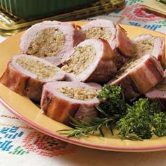 Tender Stuffed Pork Tenderloin  One of my go-to recipes.  Only I use Stove Top and not bother with making my own stuffing.