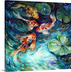 Marcia Baldwin Premium Thick-Wrap Canvas Wall Art Print entitled Dancing Colors Koi, None