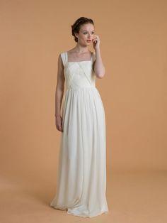 """Sabine"" silk georgette sheath #wedding #gown // Love, Yu's Age of Innocence Collection #dress"