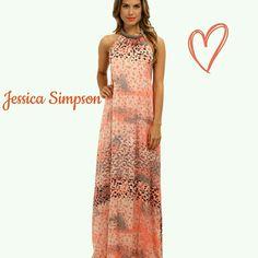 Nwt Jessica Simpson Animal Print Maxi Dress