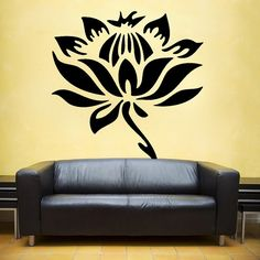 LARGE LOTUS Flower and stem vinyl Wall DECAL Art by EyvalDecal,
