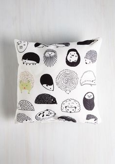 Prickly Pairing Pillow. You and this black-and-white hedgehog pillow make quite the darling duo! #white #modcloth