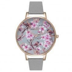 Painterly Prints Blossom Birds Grey & Rose Gold | Olivia Burton London