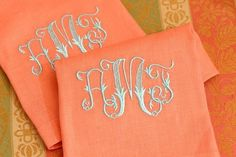Peach Tea Towels With Monogram Monogrammed Napkins, Linen Napkins, Cloth Napkins, Monogram Design, Monogram Letters, Monogram Fonts, Embroidery Monogram, Embroidery Designs, Embroidery Applique