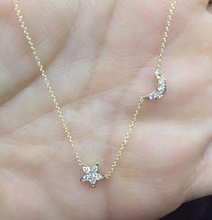 14k Gold Diamond Crescent Moon & Star Necklace/anniversary/birthday/bridesmaid/wedding