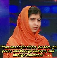 Beautiful gif set of Malala Yousafzai on The Daily Show with Jon Stewart